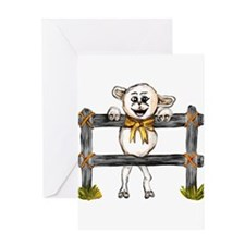 happy lamb leaning on fence Greeting Cards