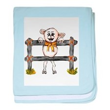 happy lamb leaning on fence baby blanket