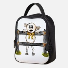 happy lamb leaning on fence Neoprene Lunch Bag