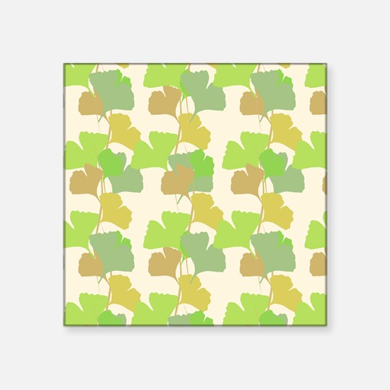 "Ginkgo Leaves Square Sticker 3"" x 3"""