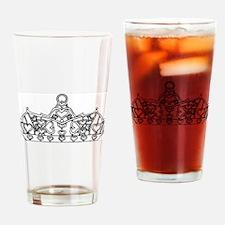 hearts crown tiara line art Drinking Glass