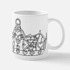 hearts crown tiara line art Mugs