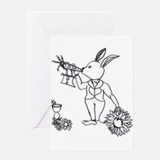 white rabbit with carrot horn daisies Greeting Car
