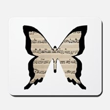 black and sheet music butterly Mousepad