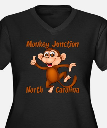 Monkey Junct Women's Plus Size V-Neck Dark T-Shirt