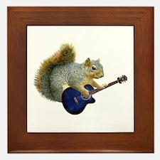Squirrel Blue Guitar Framed Tile