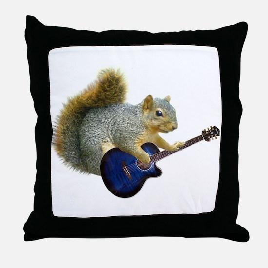 Squirrel Blue Guitar Throw Pillow