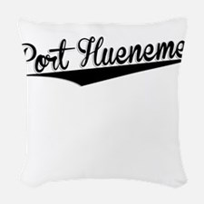 Port Hueneme, Retro, Woven Throw Pillow