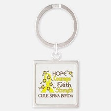 Spina Bifida HopeCourage3 Square Keychain