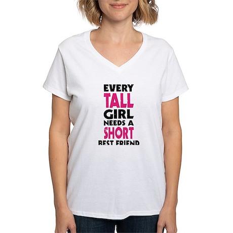 Tall Girl Short Girl Bff Women 39 S V Neck T Shirt Tall