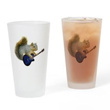 Squirrel Blue Guitar Drinking Glass