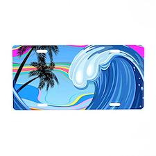Ocean Wave Aluminum License Plate