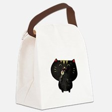 Black Sushi Cat Canvas Lunch Bag