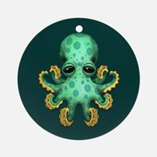 Cute Green Baby Octopus on Teal Blue Ornament (Rou