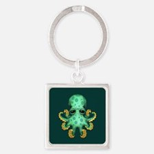Cute Green Baby Octopus on Teal Blue Keychains