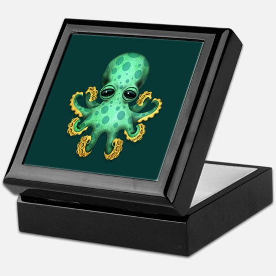 Cute Green Baby Octopus on Teal Blue Keepsake Box