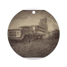 Farm Truck And Grain Elevator Ornament (Round)