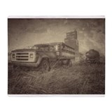 Old truck and grain Blankets