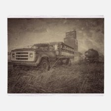 Farm Truck And Grain Elevator Throw Blanket