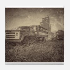 Farm Truck And Grain Elevator Tile Coaster