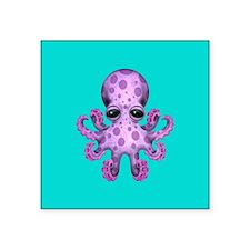 Cute Purple Baby Octopus on Blue Sticker