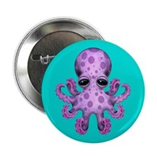 """Cute Purple Baby Octopus on Blue 2.25"""" Button"""
