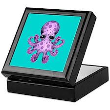 Cute Purple Baby Octopus on Blue Keepsake Box