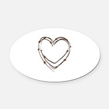 Barbed Wire Heart Oval Car Magnet