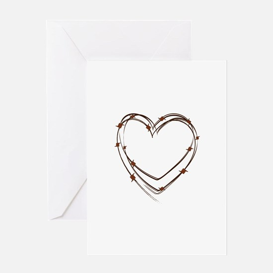 Barbed Wire Heart Greeting Cards