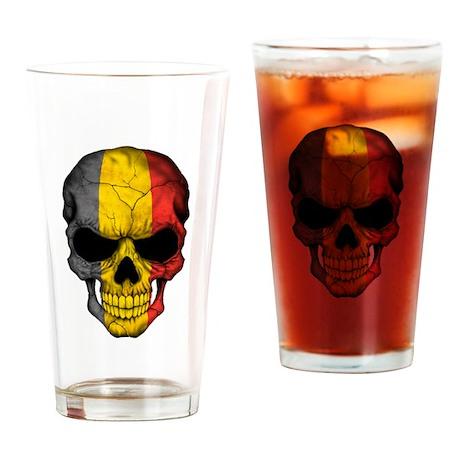 Belgian Flag Skull on Black Drinking Glass