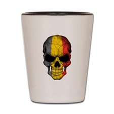 Belgian Flag Skull on Black Shot Glass