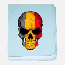 Belgian Flag Skull on Black baby blanket