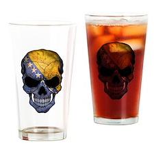 Bosnia - Herzegovina Flag Skull Drinking Glass