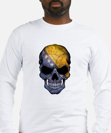 Bosnia - Herzegovina Flag Skull Long Sleeve T-Shir