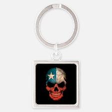 Texas Flag Skull on Black Keychains