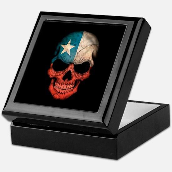Texas Flag Skull on Black Keepsake Box