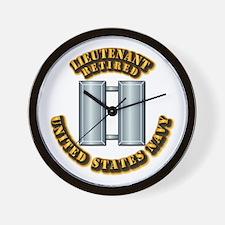 Navy - Lieutenant - O-3 - Retired Text Wall Clock