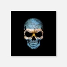 Argentinian Flag Skull on Black Sticker