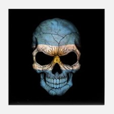 Argentinian Flag Skull on Black Tile Coaster