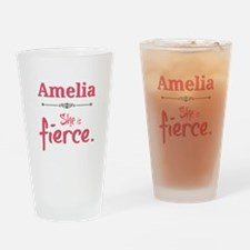 Amelia is fierce Drinking Glass