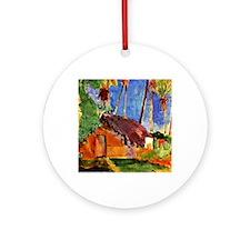 Gauguin - Thatched Hut under Palms Round Ornament