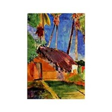 Gauguin - Thatched Hut under Palm Rectangle Magnet