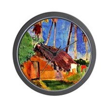 Gauguin - Thatched Hut under Palms Wall Clock