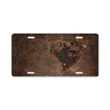 Steampunk Heart Aluminum License Plate