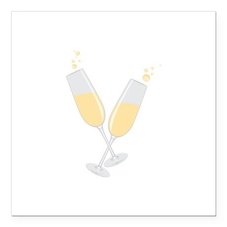 "Champagne Square Car Magnet 3"" x 3"""