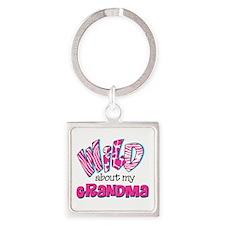 Wild About Grandma Square Keychain