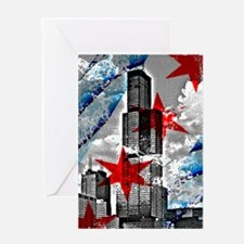 Chicago Flag Sears Wills Tower Greeting Cards
