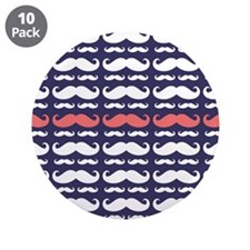 "Funny Mustache Pattern 3.5"" Button (10 pack)"