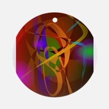 Luminous Brown Digital Abstract Art Ornament (Roun