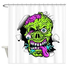 Green Zombie Head Shower Curtain